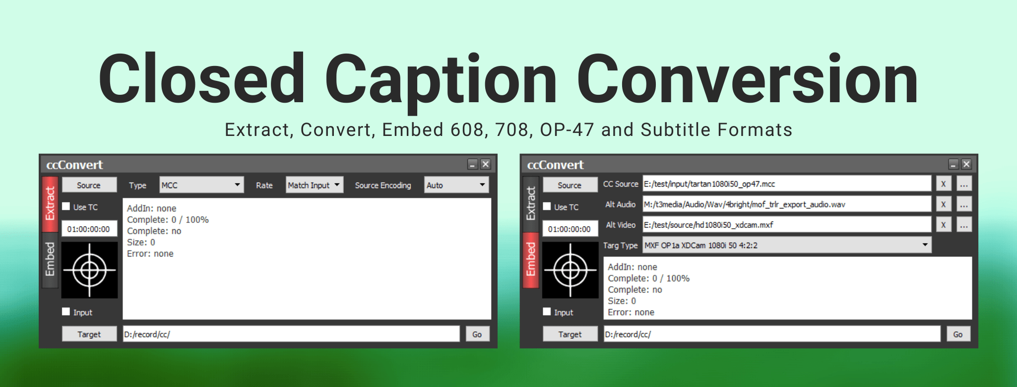 ccConvert closed captions conversion, 608, 708, op47, subtitles