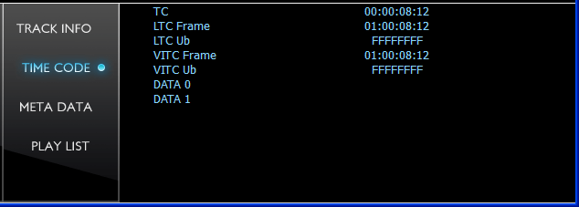 Time code display showing frame value, absolute (zero based) time code, VITC, LTC/SMPTE, User Bits and extended data
